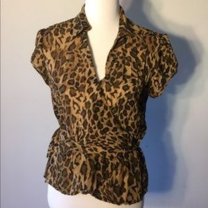 Allison Taylor Wrap Animal Print Top size M